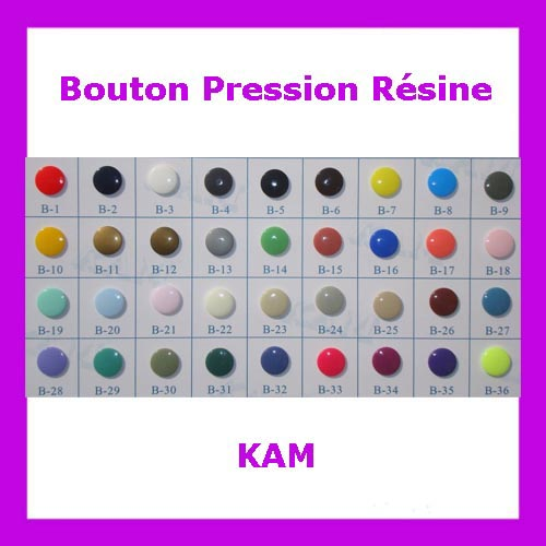 Vente de bouton pression en résine KAM